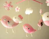 "Baby crib mobile, Bird mobile, felt mobile, nursery mobile, baby mobile, girl mobile ""Bird - baby pink and brown"""