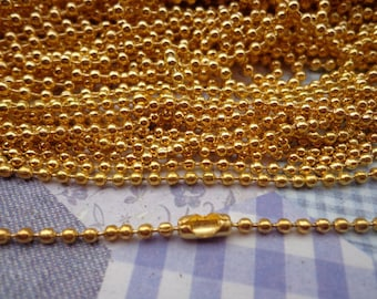 SALE--10 pcs Gold Ball Chain Necklaces - 65mm , 2.0 mm