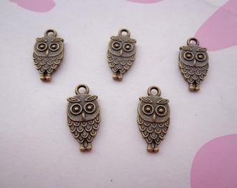 SALE--50 PCS 9x15mm Lovely The little owl Charm Pendant --Antique Bronze