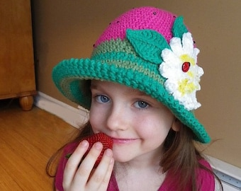 Floral Crochet Hat Pattern : CROCHET HAT PATTERN Children Crochet Pattern Summer Crochet