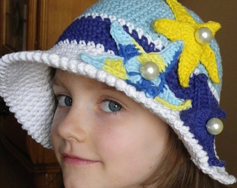 CROCHET SUMMER HAT, Crochet hat pattern, Crochet Pattern, Starfish Sun Hat Pattern, Beach, Brims, Children,  Sea Star, Girl, Crochet pattern