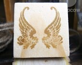 Angel Wings, Wooden Mounted Rubber Stamping Block DIY for Showers, Invitations, Greeting Cards, and Scrapbooking - B00006
