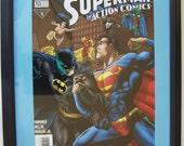 """Vintage """"Action Comics"""" no754 comic book dark frame lt blue matte"""