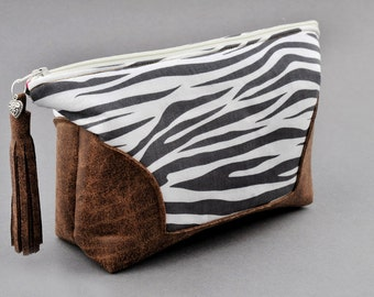 Large Cosmetic Make Up Bag Zebra Print and Leather