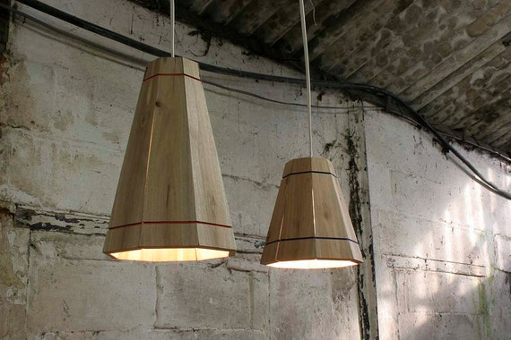 Pendant Lamp Shade Handmade in Recycled Pallet Wood, Medium