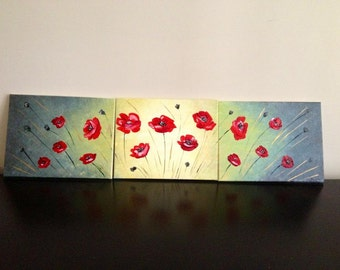 Modern abstract original red Poppies-oil and acrylic paintings-triptych
