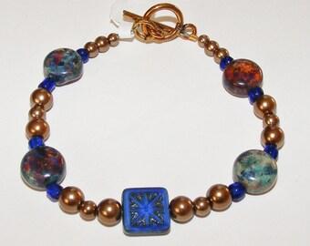 Blue Czech Glass Bracelet