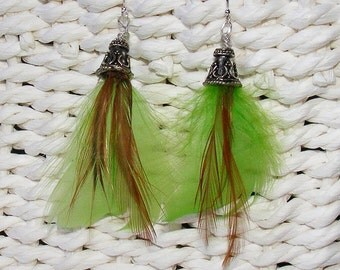 Green and Brown Feather Earrings