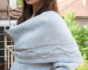 Hand Knitted Asymmetric Cardigan- Scarf with Adornation & Nara PSH003
