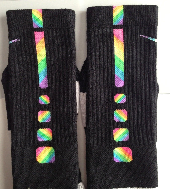 custom zig zag rainbow nike elite socks sz large 812