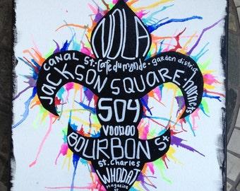 New Orleans themed Fleur de Lis Acrylic Painting
