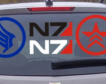 "3"" to 6"" Mass Effect N7, Renegade, Paragon Die Cut Vinyl Decal Sticker"