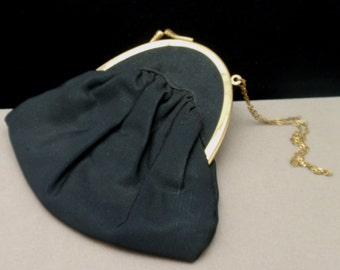 Black Silk Purse with Chain Handle and Off-Center Clasp c1930s