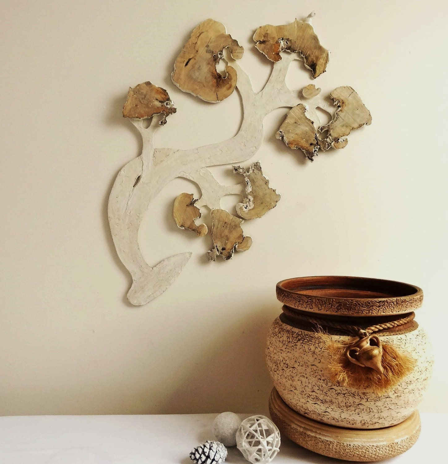 Rustic Wood Slab Tree Branch Wall Hanging Wood by DaliasHomeDecor