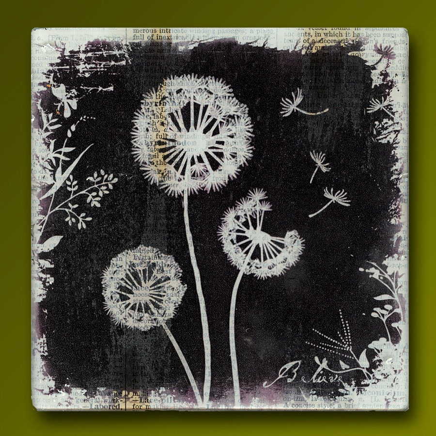 Dandelion Friends Handmade Glass And Wood Wall Blox From