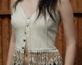 Summer fashion Leather fringed tank top in cream color