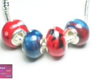 4 Charm Beads, Red and Blue Big Hole Beads, European Beads, Ceramic Beads