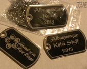 """Custom Steel Dog Tag, 1 or 2 sides engraved, 32"""" chain Available"""