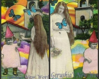 Beautiful Girl Frontside and Backside - ACEO Watercolor/Collage Print Set