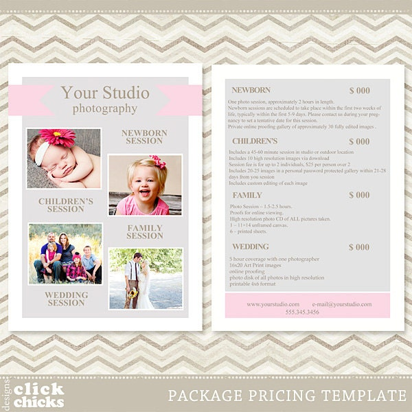 Photography Package Pricing List Template Price List Price – Pricing Sheet Template