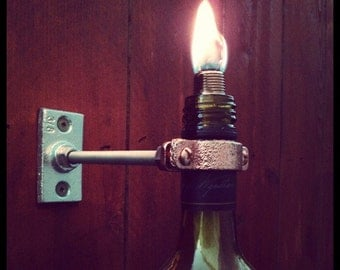 Wall mounted wine bottle tiki torches