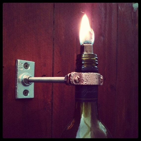 Wall Mounted Wine Bottle Tiki Torches By Theglasscove On Etsy