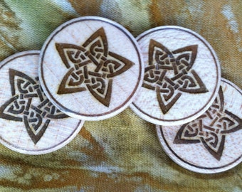 "Wooden buttons, celtic stars, 1"", set of 4"
