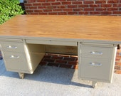 Items Similar To Vintage Industrial Metal Tanker Desk Steel Oversized Metal Invincible Wood Top
