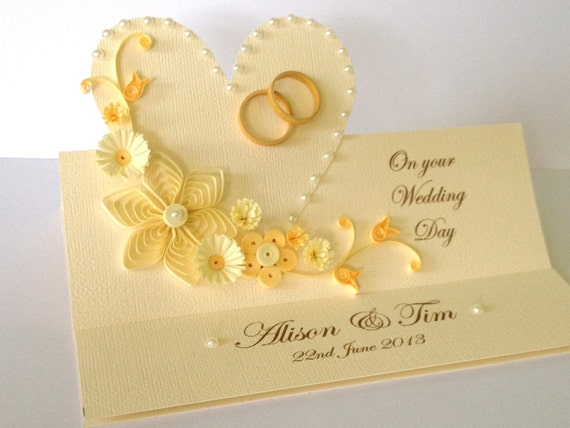 Wedding Invitation Card Paper: Items Similar To Handmade Paper Quilled Wedding Day