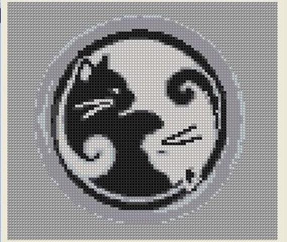 Cross Stitch Pattern Ying Yang Cat Black By