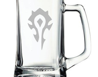 World of Warcraft Horde Etched Mug Personalized WoW