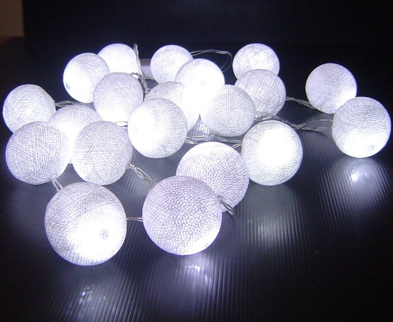 String Lights Mains Operated : White Cotton Ball 110-240V Mains Powered Fairy String Lights