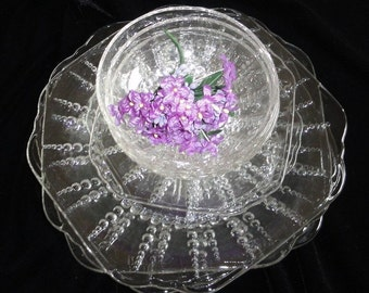 Set of Eight  COLUMBIA Pattern Dishes & Bowls by FEDERAL GLASS