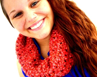 Hollyhock red/orange cowl collar and neck warmer