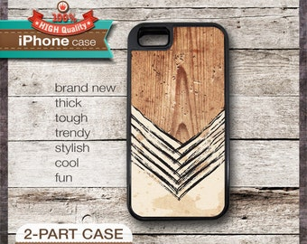 iPhone 6, 6+, 5 5S, 5C, 4 4S, Samsung Galaxy S3, S4 - Chevron on Wood Design 01
