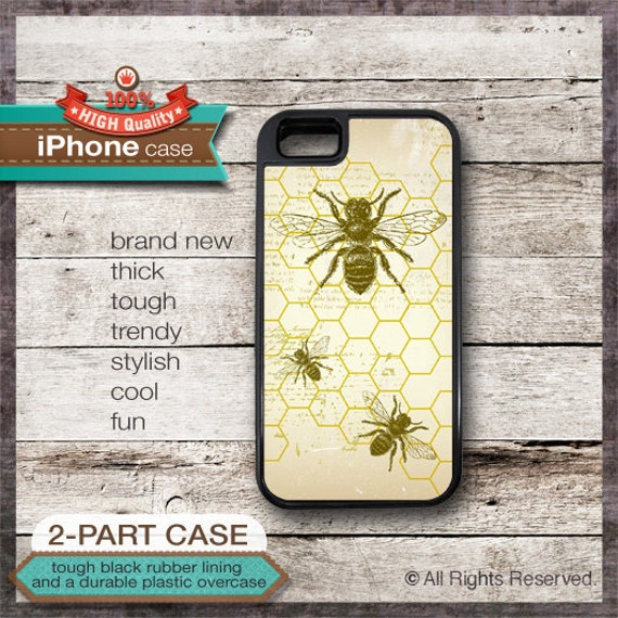 iPhone 6, 6+, 5 5S, 5C, 4 4S, Samsung Galaxy S3, S4 Bee on Honeycomb Design 1