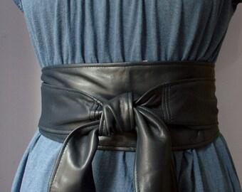 Navy Blue soft real leather obi belts / sash belts / tie belts / wrap arounds / wide belts corset belts 2017 trends handmade in Spain