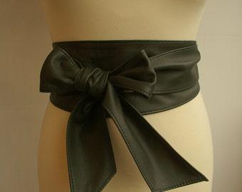 Olive green khaki handmade soft real leather obi belts / sash belts / tie belts / wrap belts / wide belts / corset / cinch belts 2017 trends