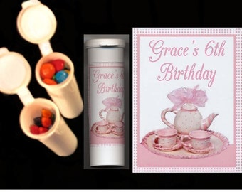 Tea party party favors candy/crayon tubes set of 10