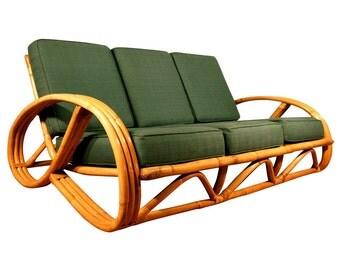 Paul Frankl Style Round Pretzel Arm Rattan Sofa