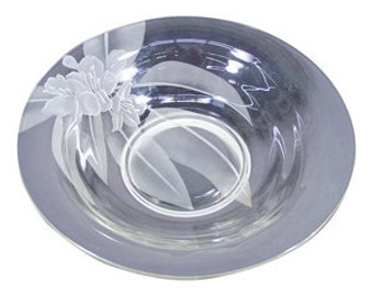 Vintage 1950 Dorothy Thorpe Etched Art Glass Hibiscus Bowl