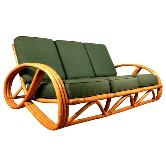 Paul Frankl Sofa ~ Paul frankl style round pretzel arm rattan sofa
