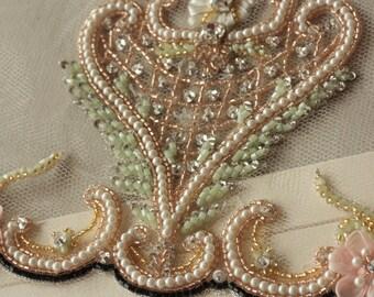 Wedding Veils, Bridal Veils, Beaded Wedding Veils, Reception Silk Veil - Earth