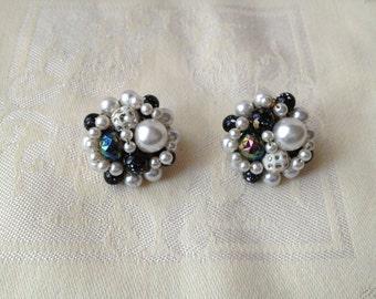 Japan Vintage Multi Colored Textured Pearl Earrings 1950s