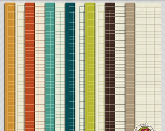 Lots of Ledgers Digital Paper Scrapbooking Set