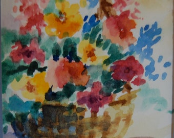 """Original Watercolor - """"Flower Basket"""" in Oversized Mat and Shrink Wrapped"""
