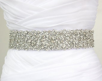 "Best Seller - CORINNE - 2"" Bridal Couture Crystal Rhinestone Encrusted Bridal Sash, Wedding Beaded Sash Belt"
