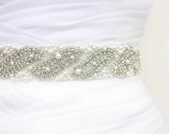SALE 20% Off - EVERETT - Ready To Ship - Wedding Crystal Belt, Bridal Crystal Rhinestone Sash, Bridal Pearl Beaded Belt