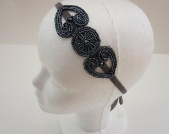 Great Gatsby Pewter Headband, Beaded Headband, 1920s Headband, Gray Dark Silver Bridesmaid Headband, Art Deco Headband