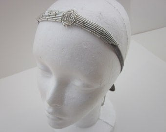 The Great Gatsby Headband 1920s Flapper Headband Silver Bridal Wedding Fascinator Gray OR Black Velvet Ribbon